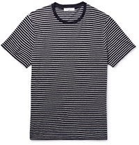 Sandro Slim Fit Striped Slub Linen T Shirt Blue