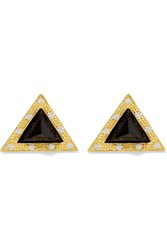 Kevia Gold Plated Onyx Earrings Black