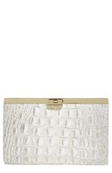 Brahmin 'Tillie' Croc Embossed Leather Clutch Grey Empire