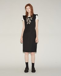 Comme Des Garcons Wool Garbardine Button Dress Black