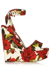 Dolce And Gabbana Floral Brocade Wedge Sandals Red