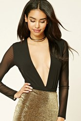 Forever 21 Mesh Sleeved Bodysuit Black