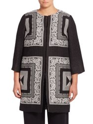 Marina Rinaldi Plus Size Elegante Embroidered Silk Blend Jacket Black Multi