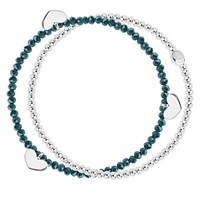 Joma Double String Heart Stretch Bracelet Teal Silver Teal Silver