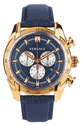 Versace 'V Ray' Chronograph Leather Strap Watch 44Mm Blue Rose Gold