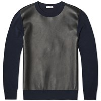Valentino Leather Panel Crew Knit Blue