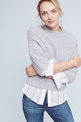 Anthropologie Cropped Waterford Sweater Grey
