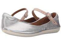 Clarks Feature Film Silver Leather Women's Flat Shoes