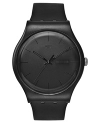 Swatch Watch Unisex Swiss Black Rebel Black Silicone Strap 41Mm Suob702