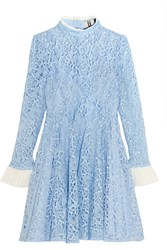 Topshop Unique Taplow Guipure Lace Mini Dress Sky Blue