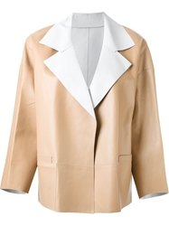 Sylvie Schimmel Contrast Lapel Jacket Nude And Neutrals
