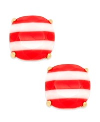 Kate Spade New York 14K Gold Plated Nautical Striped Stud Earrings Coral