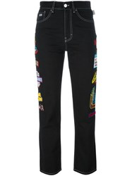 Gcds Patch Detailed High Waisted Jeans Black