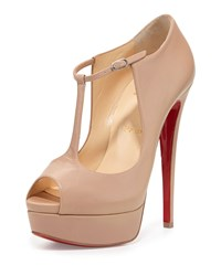 Christian Louboutin Alta Poppins T Strap Red Sole Pump Nude Women's