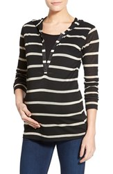 Women's Lab40 'Zoe' Stripe Maternity Nursing Hoodie Black Tan Stripe