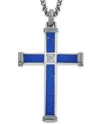Esquire Men's Jewelry Lapis Lazuli 22 7 8 X 3 3 4Mm And 9 1 2 X 3 3 4Mm And Diamond Accent Cross Pendant Necklace In Sterling Silver First At Macy's