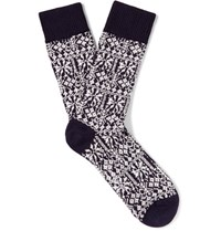 Oliver Spencer Fair Isle Stretch Cotton Blend Socks Navy