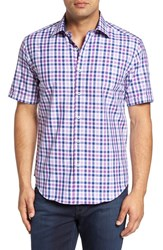 Bugatchi Men's Shaped Fit Check Sport Shirt Orchid
