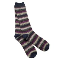 Anonymous Ism Navy And Purple Fair Isle Crew Socks Blue