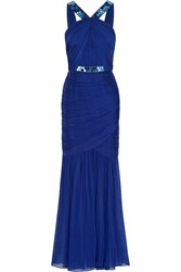 Matthew Williamson Embellished Silk Chiffon Gown Blue