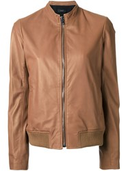 Joseph Ribbed Hem Zipped Jacket Brown