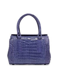 Nancy Gonzalez Structured Crocodile Satchel Bag Purple
