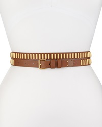 Haute Hippie Long And Winding Road Belt With Studs Cognac Gold