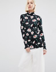 Warehouse Pop Daisy Polo Top Multi