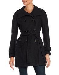 Calvin Klein Wool Blend Double Breasted Peacoat Black