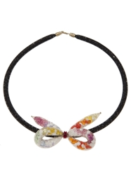 Peppercotton Knotted Bow Necklace Yellow And Orange