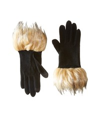 Lauren Ralph Lauren Long Gloves W Faux Coyote Fur Black Coyote Fur Wool Gloves Yellow
