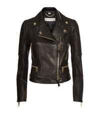 Burberry London Mossgrove Quilted Lambskin Biker Jacket Female Black