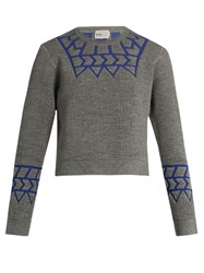 Kolor Geometric Intarsia Long Sleeved Sweater Grey Multi