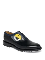 Fendi Slick Eyes Leather Oxfords Black Multi