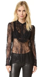 The Kooples Lace And Frill Blouse Black