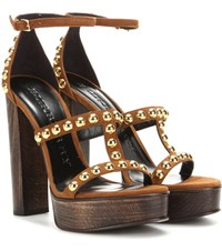 Burberry Rhys 130 Embellished Suede Sandals Brown