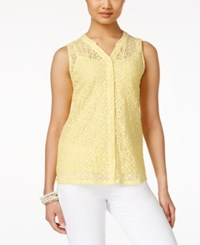 Styleandco. Style And Co. Petite Lace Button Front Blouse Only At Macy's Soft Sun
