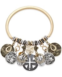 Macy's Gold Tone Coin Charm Bangle Bracelet