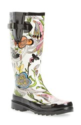 Women's Sakroots 'Rhythm' Waterproof Rain Boot White Peace