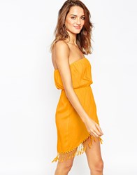 Asos Fringed Wrap Front Bandeau Beach Dress Sunsetyellow