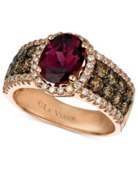Le Vian Raspberry Rhodolite Garnet 1 7 8 Ct. Chocolate Diamond 3 4 Ct. T.W. And White Diamond 3 8 Ct. T.W. Oval In 14K Rose Gold