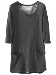 Poetry Double Faced Tunic Top Charcoal