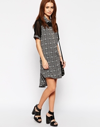 Influence Printed Shirt Dress With Contrast Neck Black