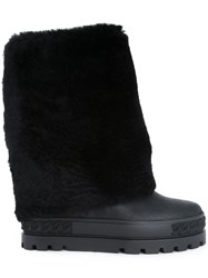 Casadei Faux Fur Trim Boots Black
