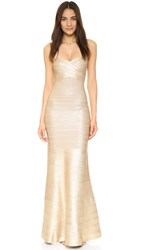 Herve Leger Sara Gown Light Gold Combo