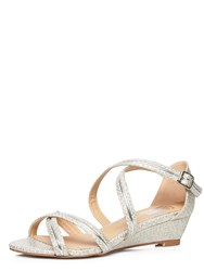 Evans Extra Wide Fit Snake Effect Strap Wedge Metallic