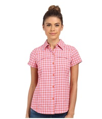 Columbia Silver Ridge Multiplaid S S Shirt Coral Flame Small Ripstop Women's Short Sleeve Button Up Pink