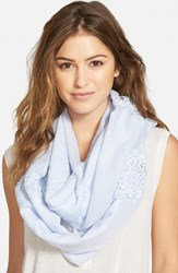 Women's Hinge Lace Trimmed Infinity Scarf Blue Blue Feather