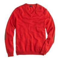 J.Crew Tall Rustic Merino V Neck Elbow Patch Sweater Spicy Chili