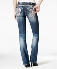 Miss Me Embellished Embroidered Bootcut Medium Blue Wash Jeans Navy